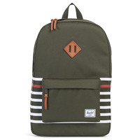 Heritage Backpack Forest Night Offset Stripe / Veggie Tan Leather