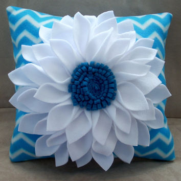 Blue and white chevron dahlia pillow,16 inch square pillow,home decor,dorm  furnishings,throw pillow,accent pillow,colorful chevron pillow
