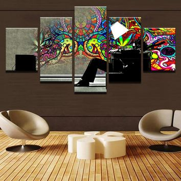 5 Pieces Pcs Psychedelic Graffiti Panel Wall Art Print Canvas Printed Picture
