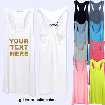 Workout or Bride Tank Top with Personalized print fitness bow tank top with 11 colors selection