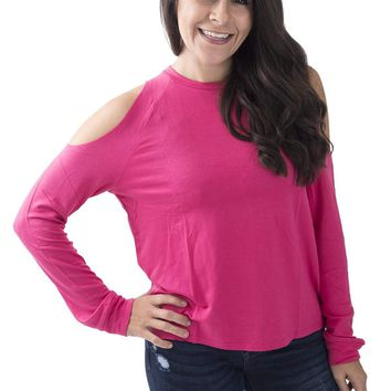 Women's French Terry Long Sleeve Tee with Cold Shoulders