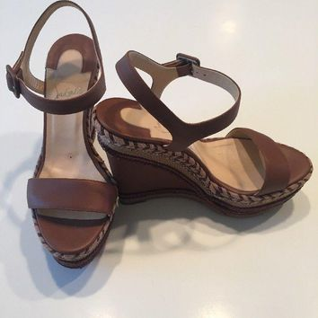 Christian Louboutin Brown Platform Espadrille Wedge Sandals 38