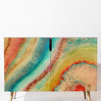 Viviana Gonzalez AGATE Inspired Watercolor Abstract 01 Credenza