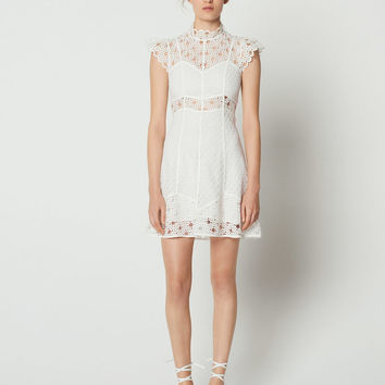 Lace insert dress with high neck