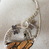 Unique Contour Statement All in One, Necklace wrap around Black White Ebony, Dragonflies, crystals, 12 gauge silver non tarnish wire