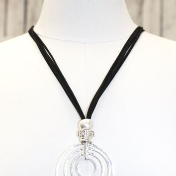 Multi Circles with Rope Chain Long Necklace
