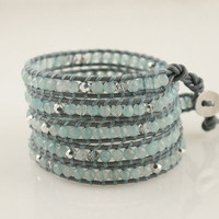 5 Wrap chan luu style Bracelet Beryl Gray with Chrysolite crystals