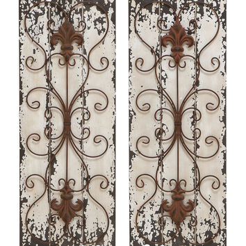elegant wall sculpture wood metal wall decor set of 2