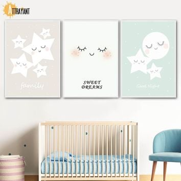 Star Moon Dream Wall Art Canvas Painting Nordic Posters And Prints Wall Pictures For Kids Bedroom Baby Boy Girl Room Home Decor