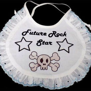 Future Rock Star Skull Bones Baby White Bib Lacy Lace Girl Newborn Gift BAB-0013