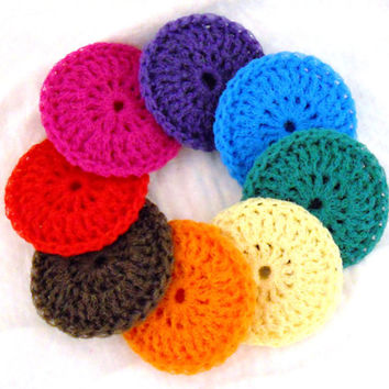Nylon Pot Scrubbies -  Set of 8 - Rainbow Collection - Crochet Dish Scrubbers