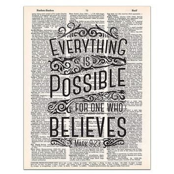 Mark 9:23, Everything is Possible, Christian Wall Art, Bible Verse, Rustic Decor, Dictionary Page, 8x11 UNFRAMED