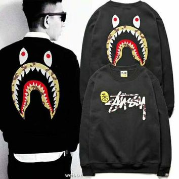 DCCKJ1A Stussy & Bape Aape Shark men's and women's new fashion hooded sweater F-YQ-ZLHJ
