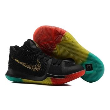 Best Deal Online Nike Kyrie Irving 3 PE Men Basketball Sneaker Black Gold Red Yellow Green Sports Shoes