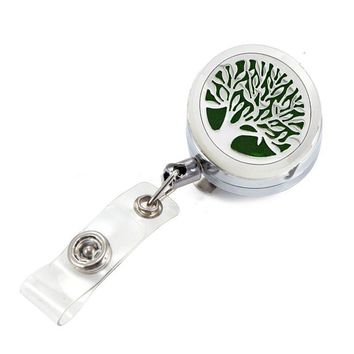 Tree of Life Aromatherapy Locket Retractable Badge Reel