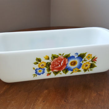 Vintage Cottage Garden, Pyrex England, Loaf, Bread Rectangle Dish, Pink, Blue & Yellow Flowers, English Garden, Milk Glass, 1982- Excellent