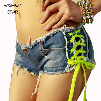 On Sale Summer Plus Size Jeans Casual Button Ties Low Waist Nightclub Bar Hot Shorts Lady Trousers/ Spicy Girl  Short Pants