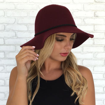 Rope Wool Hat In Burgundy