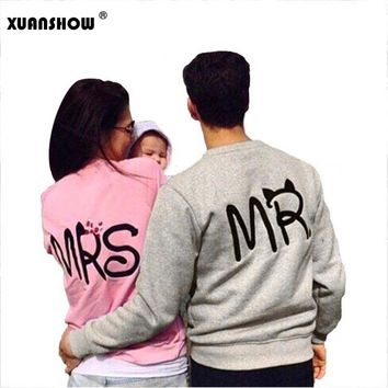 2017 Autumn and Winter Fashion MS and MR Letters Lovers Couple Long Sleeve Fleece Shirts Hoodie Sweatershirts Casual Tank Top