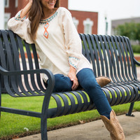 Maya Beaded Blouse, Cream