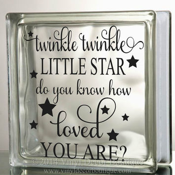 Twinkle Twinkle Little Star Glass Block Decal Tile Mirrors DIY Decal for Glass Blocks Twinkle Twinkle Little Star