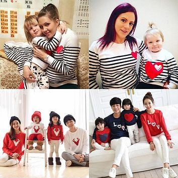 spring striped t-shirt mother mommy and me daughter father son kids baby clothes matching family outfits clothing family look
