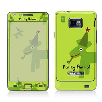 Galaxy Decal, Samsung Cover, Galaxy S2 i9100 Case Skin, PLUS Matching Wallpaper - Party Animal Green - Lime Dog Cute Funny Women Men Teen