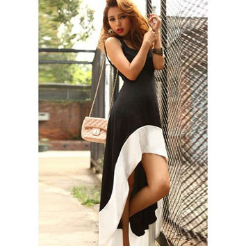 Black and White Color Block Strappy Maxi Dress