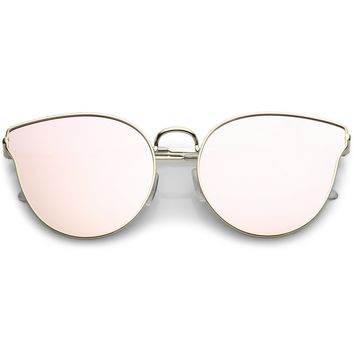 Premium Metal Cat Eye Sunglasse With Slim Arms And Round Colored Mirror Flat Lens 54mm