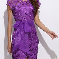 Purple Lace Floral Crochet Tie-Up Bow Organza Mini Dress