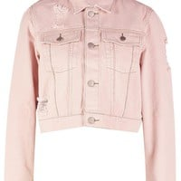 Cropped Colour Slim Fit Denim Jacket | Boohoo