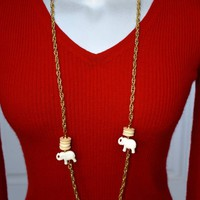 Textured Double Link Chain Elephant Necklace Vintage