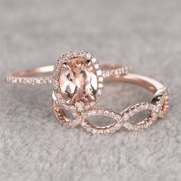 2pcs Morganite Bridal Ring Set,Engagement Ring Rose Gold,Diamond