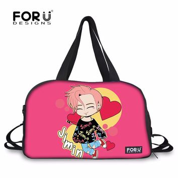 FORUDESIGNS K-pop BTS Jimin Travel Duffel Printed Portable Women's Overnigh Tote Bag Luggage Large Handbags for Pink Fans Girls