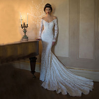 Long Sleeve Wedding Dress White Lace Mermaid Berta Bridal Boho Sexy Backless Off The Shoulder Bridal Gown