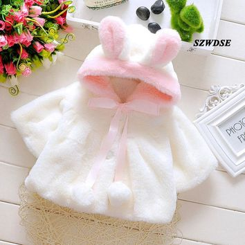 Child's Winter warm tops toddler Christmas soft Plush rabbit-ears hoodies newborn cute cosplay clothing infant clothes 3M-24M