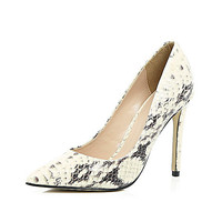 Beige snake print leather court heels - court shoes - shoes / boots - women