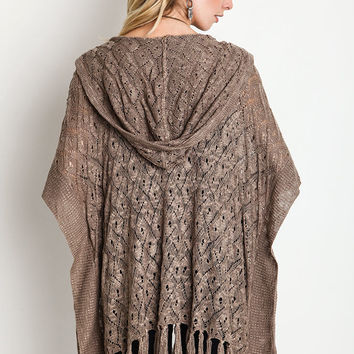 Fringe Trim Hooded Cardigan - Mocha