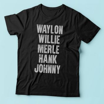 Waylon Jennings Willie Nelson Merle Haggard Johnny Cash Hank Album Men'S T Shirt