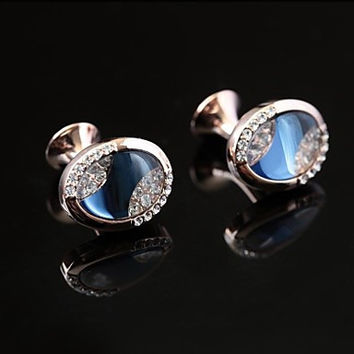 Vintage 1.3cm Men's Blue opal Cufflink(1 Pair)