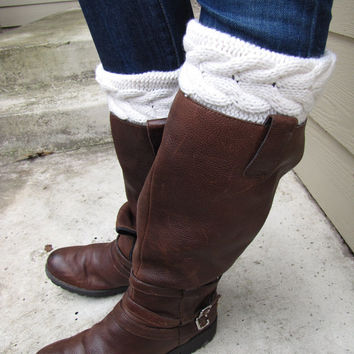 Boot Sock with Cuff-Full boot Sock sock Included- Topper-Boot Sock- Ivory- Large Cable Knit -Full sock included
