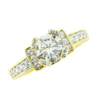 Solitaire Womens Wedding Ring Round Cut Gold On 925 Silver Engagement Bridal