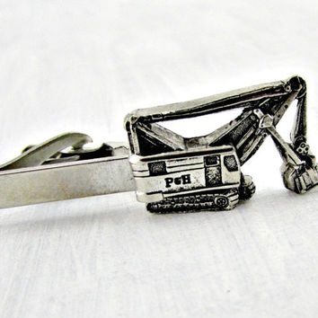 Vintage P&H Backhoe Tie Clip Bar, MERCURY Industries, Silver Tie Clip Bar, 1960s Unique Cool Mens Jewelry Accessory, Gift for Dad Him Men