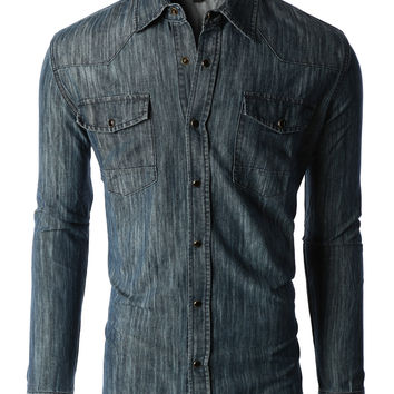 LE3NO Mens Classic Long Sleeve Button Down Chambray Denim Western Shirt