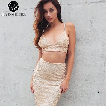 Lily Rosie Girl Glod Sexy Bodycon Dress Women Two Piece Summer Dress Silver Sequin Evening Party Dresses Elegant Vestidos 2018