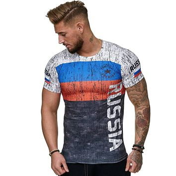 Summer Russian flag men's casual fashion T-shirt round neck cool and lightweight