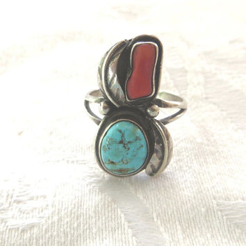 Vintage Navajo Ring, Sterling Silver Leaves, Turquoise Coral Stones, Native American Jewelry, Size 8