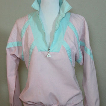 Vtg Pastel Sweatshirt Jumper Pink with Mint Accents Medium 1/2 Zip UP Batwing Long Sleeves