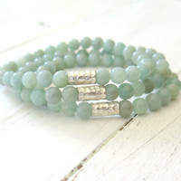 Amazonite Bracelet with Hill Tribe Silver, Bohemian Stacking Bracelet, Light Blue Womens Bracelet, Gemstone Bracelet, Ready to Ship, Sale