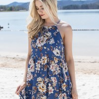 Still Pond Floral Dress, Cobalt Blue